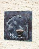 Abstract beeldhouwwerkstandbeeld op de muur van baden-Baden Royalty-vrije Stock Foto