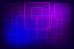 Abstract behang met neonvierkanten op een blauw-violette achtergrond Royalty-vrije Stock Foto