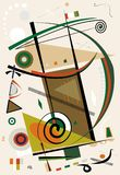 Abstract beige background ,fancy geometric and curved shapes , expressionism art style- 18-92. Abstract colorful composition , fancy geometric and curved shapes stock illustration