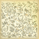 Abstract beige background with floral ornament. Abstract beige background with cracked floral ornament Royalty Free Stock Image