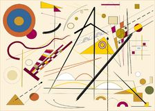 Abstract beige horizontal background ,inspired by the painter kandinsky Royalty Free Stock Photo