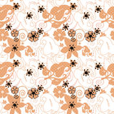 Abstract beige ornament seamless pattern on white Royalty Free Stock Photography