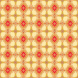 Abstract beige and red floral geometric Seamless T. Abstract Floral Seamless Vector Background Texture. Seamless pattern with lightning ornament on beige Stock Photo