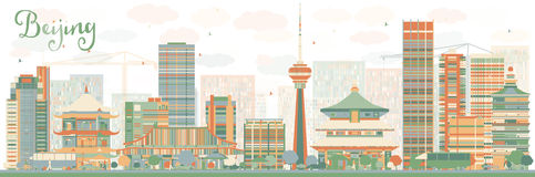 Abstract Beijing Skyline with Color Buildings. Stock Photo
