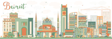 Abstract Beirut Skyline with Color Buildings. Vector Illustration. Business Travel and Tourism Concept with Modern Architecture. Image for Presentation Banner Royalty Free Stock Photos