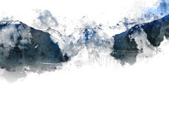 Abstract bergenlandschap op witte achtergrond Stock Afbeelding