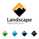 Abstract Berglandschap Logo Template Design Vector Royalty-vrije Stock Foto