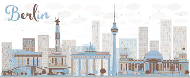 Abstract Berlin skyline with color building. Stock Image