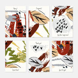 Abstract berries and leaves seasonal. Hand drawn creative invitation or greeting cards template. Anniversary, Birthday, wedding, party, social media banners set Royalty Free Stock Photography