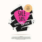 Abstract Best sale poster. Bright background with geometric shapes for advertising Stock Photos