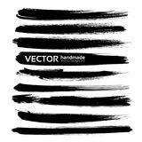 Abstract big black long ink strokes set Stock Photo