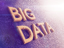 Abstract Big Data concept image. Yellow letters. Big Data on abstract digital background.3D rendering Stock Images