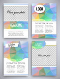 Abstract big set of multicolor or colorful triangular geometric design brochure and flyer template, vector illustration Royalty Free Stock Photos