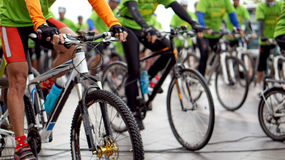 Abstract biking tournament at start line, shot of a group of rac Stock Images