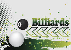 Abstract billiard background with green arrow and  colorful dots Royalty Free Stock Photography