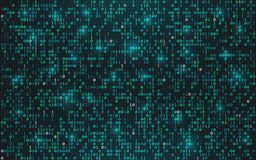 Abstract binary code background. Digital data concept. Bright streaming digits with lights on dark backdrop. Futuristic. Technology wallpaper. Vector stock illustration