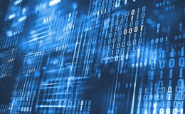Abstract binary code. Cloud data. Blockchain technology. Digital cyberspace. Big Data concept 3D illustration royalty free illustration