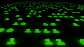 Abstract binary code glow green background 3d illustration. Stock Photo