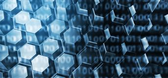Abstract Binary Code On Hexagon Background. 3D Rendering Of Abstract Binary Code On Hexagon Background Stock Photo