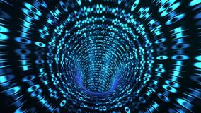 Binary code tunnel - blue 3D rendering. Abstract binary code tunnel - blue Stock Illustration