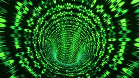 Binary code tunnel - green 3D rendering. Abstract binary code tunnel - green Stock Illustration