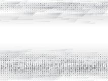 Abstract binary computer code. Hi tech digital technology on a grey background. Futuristic vector illustration Stock Images
