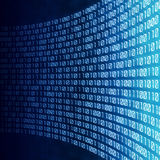 Abstract binary digital code. Abstract binary code on blue digital screen Royalty Free Stock Photography