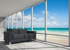 Abstract binnenland, bureauruimte op een overzeese kust Stock Fotografie
