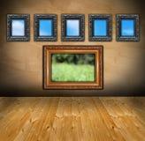 Abstract binnenland met houten kaders zoals vensters Royalty-vrije Stock Afbeelding