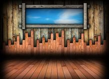 Abstract binnenland met venster en blauwe hemel Royalty-vrije Stock Fotografie