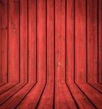 Abstract binnenland van rode woodemruimte Stock Foto