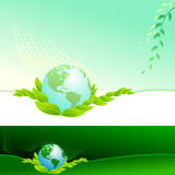 Abstract Bio Green Globe - Vector Background Stock Images