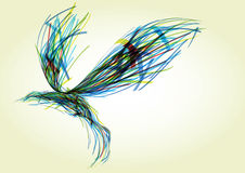 Abstract bird. Flying abstract bird, consisting of randomly dispersed colored ribbons vector illustration