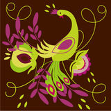 Abstract bird. Folk drawing: colorful bright farytale bird design - vector illustration Stock Images
