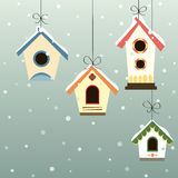 Abstract bird house set in the snowfall Stock Photos