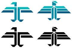 Abstract bird logo. Isolated line art abstract bird logo set Royalty Free Stock Photo