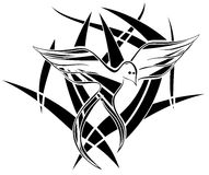 Abstract bird tattoo in black isolated Royalty Free Stock Photo