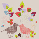 Abstract birds. Abstract background - birds and bright trees vector illustration