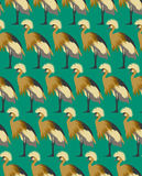 Abstract birds background, fashion seamless pattern, vector wallpaper. Vintage fabric, creative graphic shadoof ornaments Stock Images