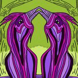 Abstract birds in the spring.Violet and green color. royalty free illustration