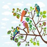 Abstract birds on tree. Illustration of colorful abstract birds on tree Royalty Free Stock Photography