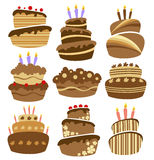 Abstract birthday cake set. With candles Stock Photo