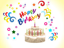 Abstract birthday card with cake. Illustration Royalty Free Stock Photos