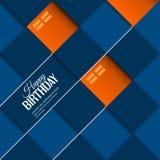 Abstract birthday card orange balloons on blue Stock Photos