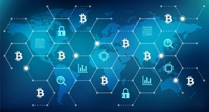 Bitcoin concept – mining, security, investment, speculation. Abstract bitcoin concept in blue color with connected icons showing various aspects and challenges Royalty Free Stock Images