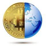 Abstract Bitcoin inside planet Earth. Concept cryptocurrency in the financial world. Banking business. illustration Royalty Free Stock Photography