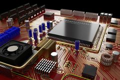 Abstract bitcoin miner ASIC motherboard. Macro. 3D rendering. Abstract bitcoin miner ASIC motherboard Stock Photography