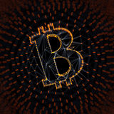Abstract Bitcoin Sign Built as an Array of Transactions in Blockchain Conceptual 3d Illustration Royalty Free Stock Photos