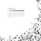 Abstract black alphabet ornament frame isolated on white background. Vector illustration for education writing design. Random letters flying around. Alphabet royalty free illustration