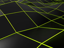 Abstract black background with bright green lines Stock Images